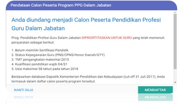 Berikut Pengumuman Pendataan Calon Peserta PPG 2018 Melalui Akun SIM PKBBerikut Pengumuman Pendataan Calon Peserta PPG 2018 Melalui Akun SIM PKB