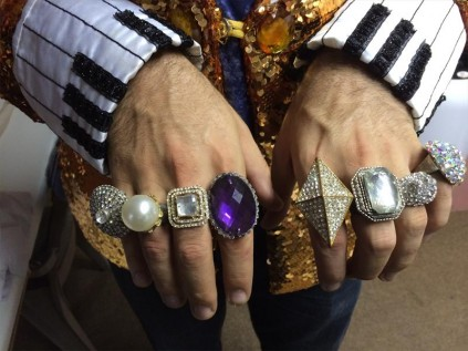 Jonathan Roxmouth is offering the whole Liberace experience, rings included.