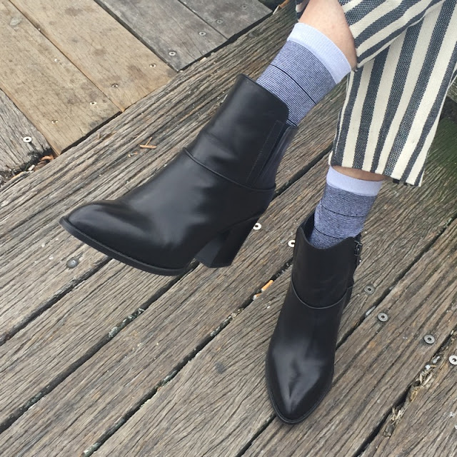 Black block heel boots, silver metallic socks