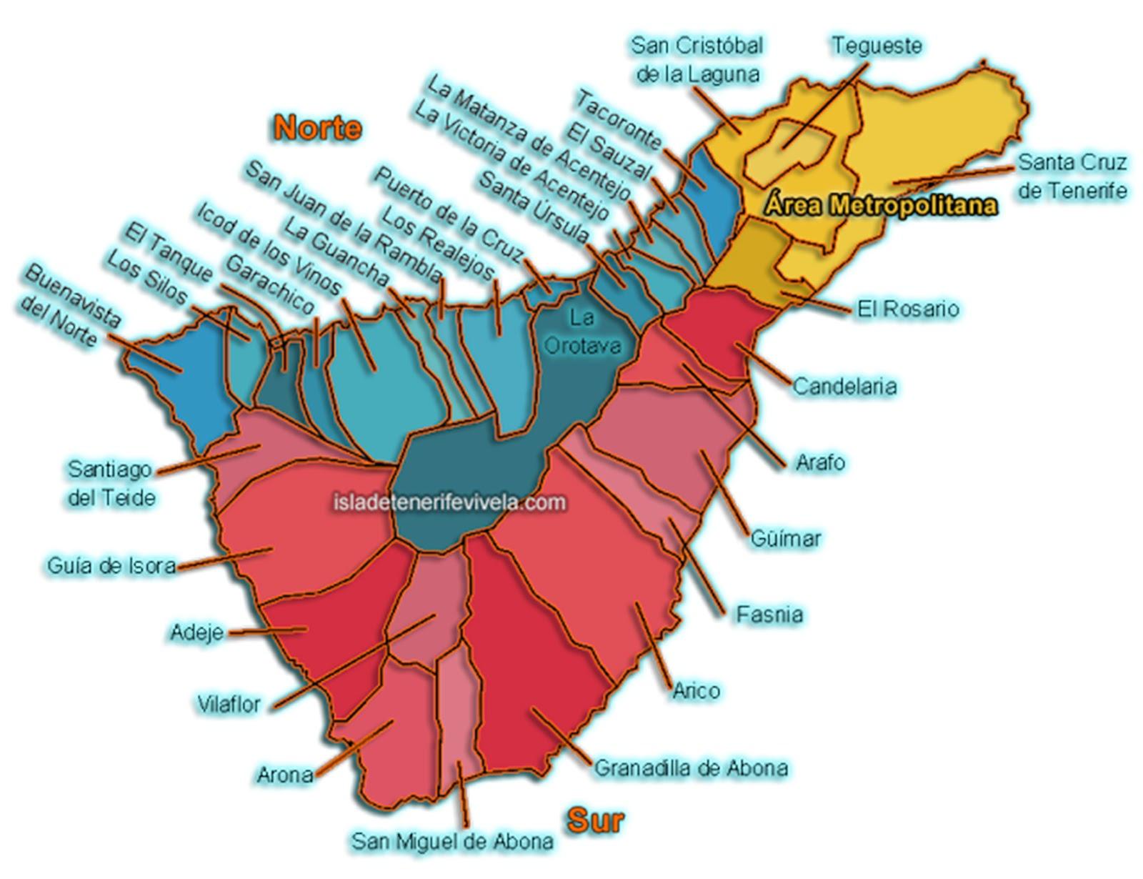 Mapa De Tenerife Municipios.Isla De Tenerife Vivela Municipios De Tenerife Alfabetico