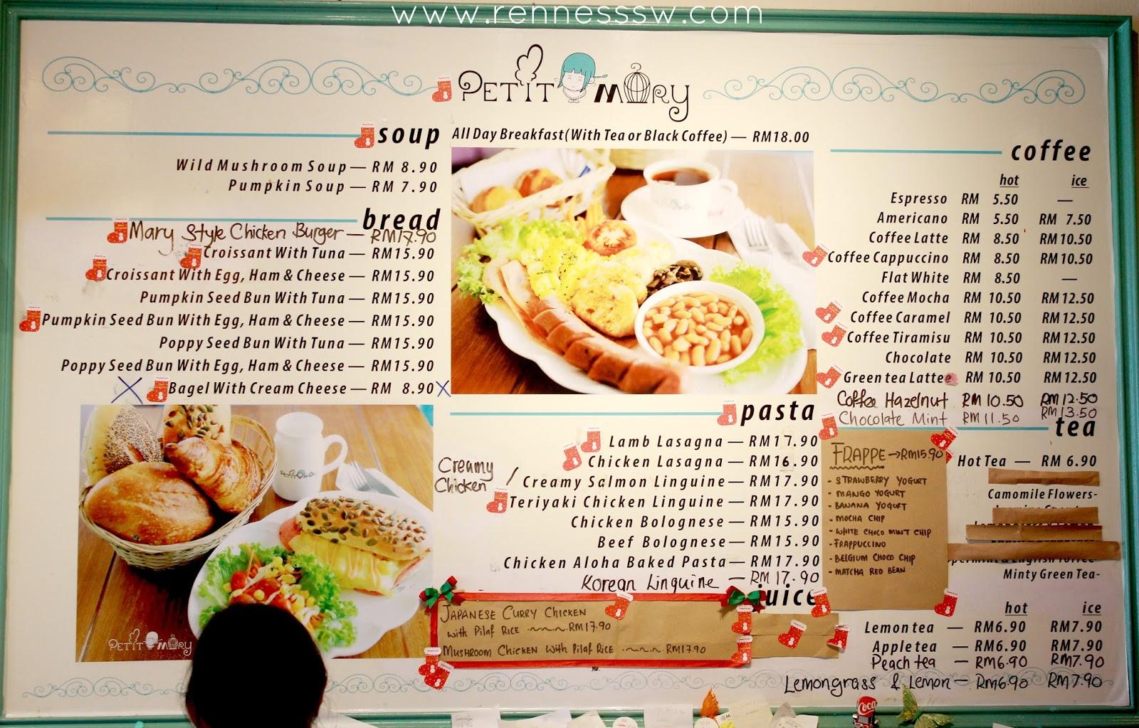 mary fast food menu