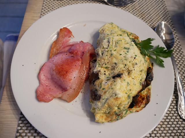 Bacon and mushroom omlette at Swan House B&B, Hastings