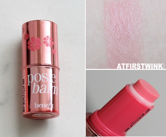 benefit hydrating tinted lip balm - posiebalm review en swatches