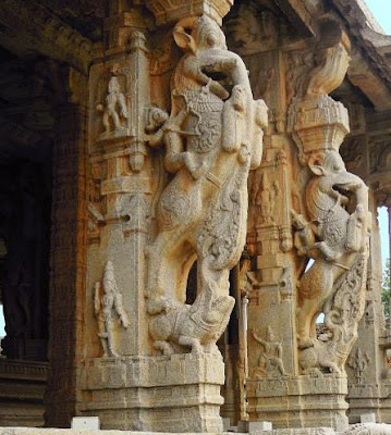 Yali or Gaja-Vyala carved on the pillars of the Vittala Temple, Hampi