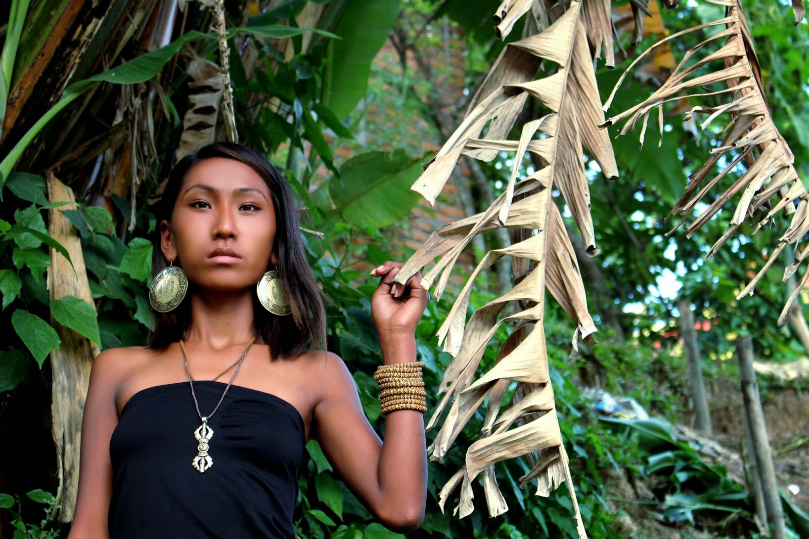 Tibetan model, bamboo, jewelry, Lotus Sky