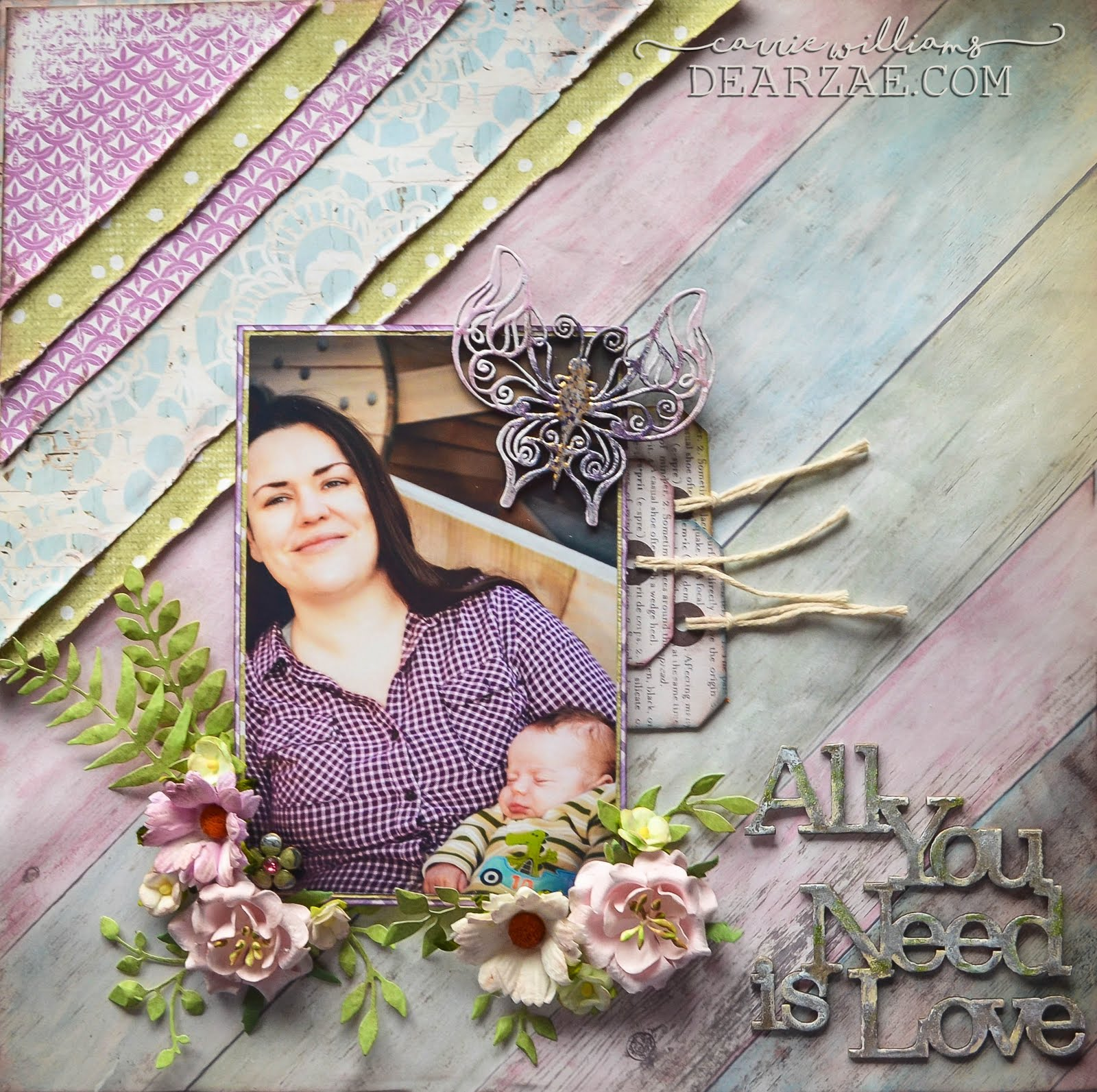 Shabby Boho Chic Scrapbooking Page Layout in purple, pink, sage green, and baby blue with Blue Fern Studios and Wild Orchid Crafts mulberry paper flowers, Sizzix Big Shot die cut leaves, with mixed media background pearlescent watercolors & Paper House Productions Wedding Day B side papers & chipboard title