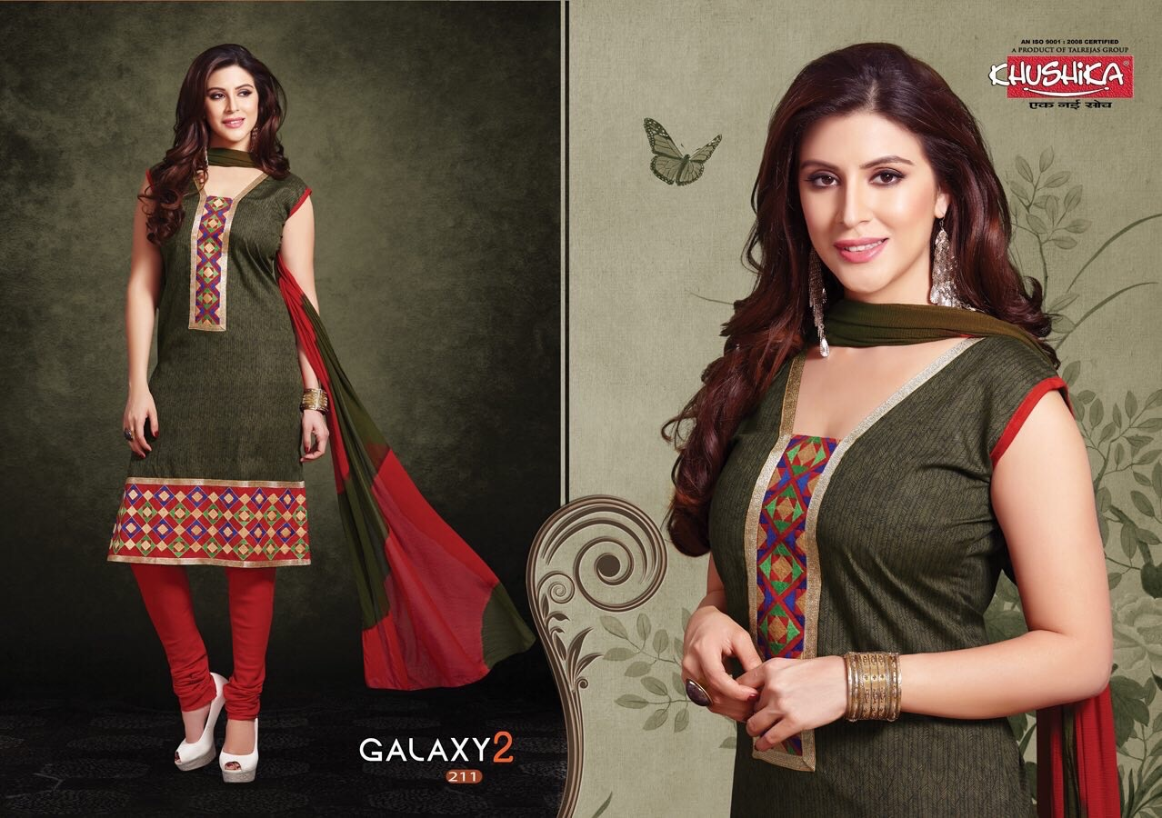 1c30eb11ab Khushika Galaxy Vol 2-Desingar cotton embroidery top with cotton bottom and chiffon  dupatta