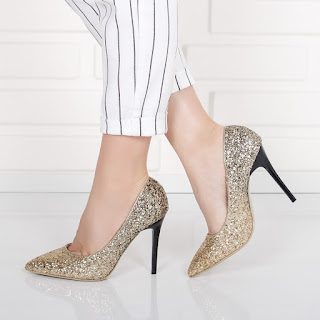 Pantofi Mamilo aurii eleganti de ocazii si de zii in degrade