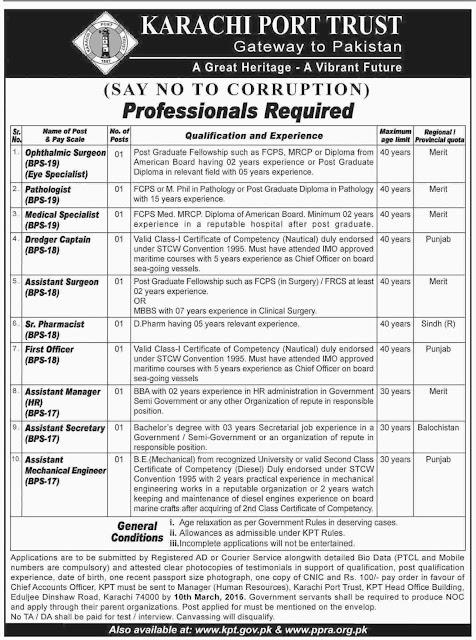 Doctors & Admin Jobs in Karachi Port Trust
