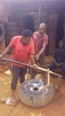 The Female Vulcanizer Who Works With her Husband Daily in Nsukka