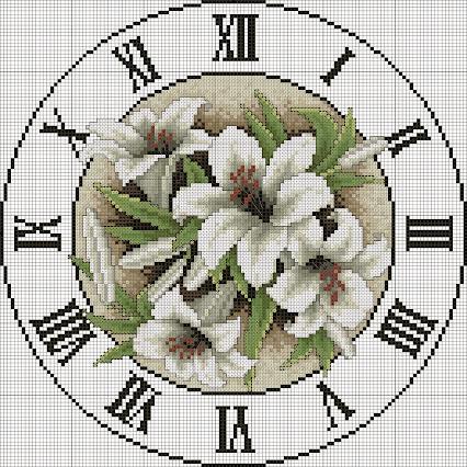 Схема вышивки - круглые часы в