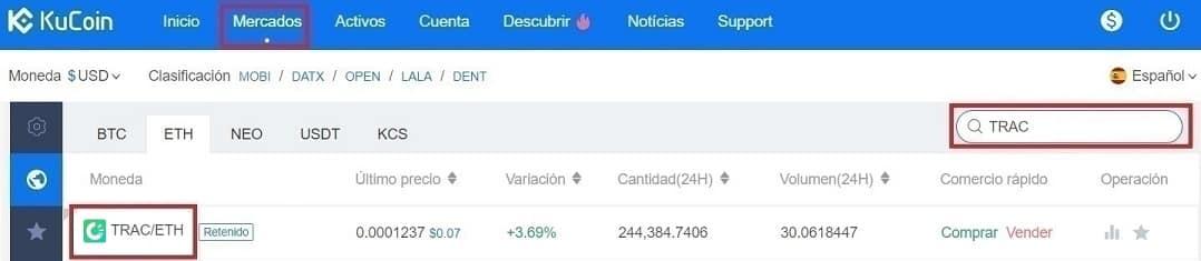 Comprar OriginTrail (TRAC) en Kucoin y Coinbase Tutorial Español