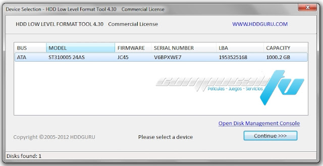 HDD Low Level Format Tool Versión 4.40