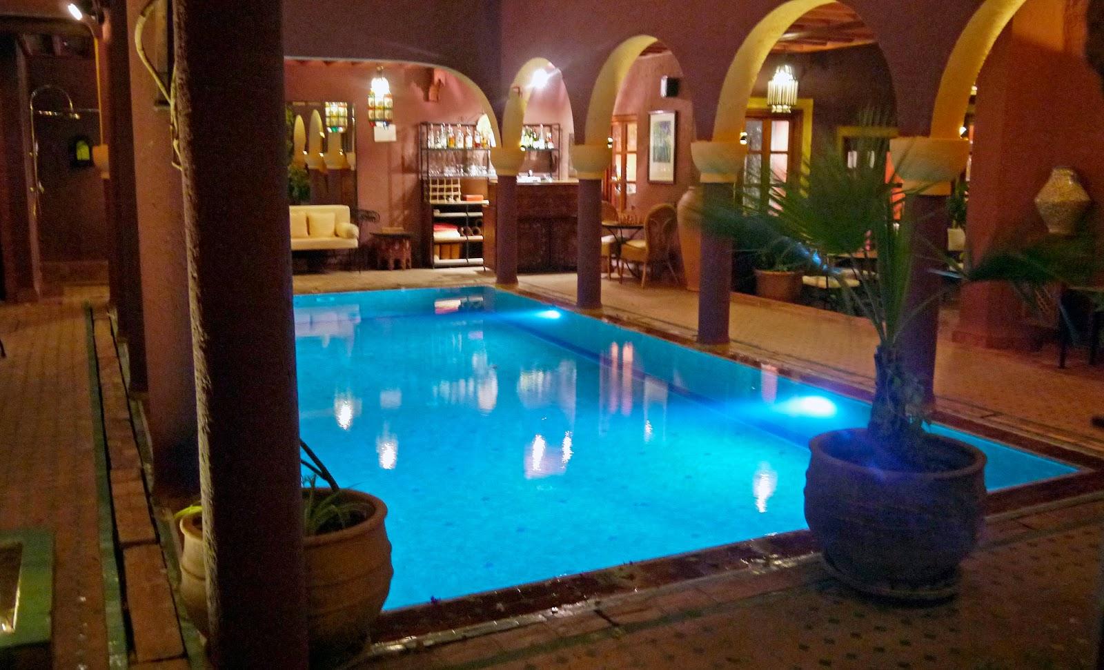 Swimming pool at night Riad Noga Marrakesh