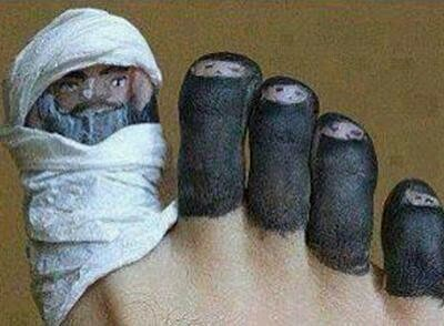 Funny Islam Muslim Foot Toe Family Burka Joke Picture