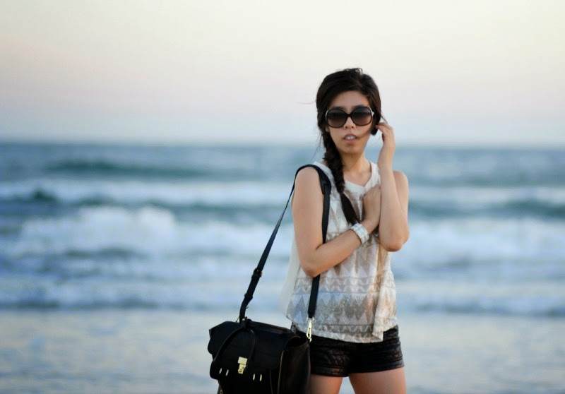 Sequinned Top and Leather Shorts_Adrienne Nguyen
