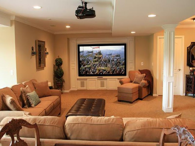comely small basement ideas with brown sectional sofa and leather coffee table