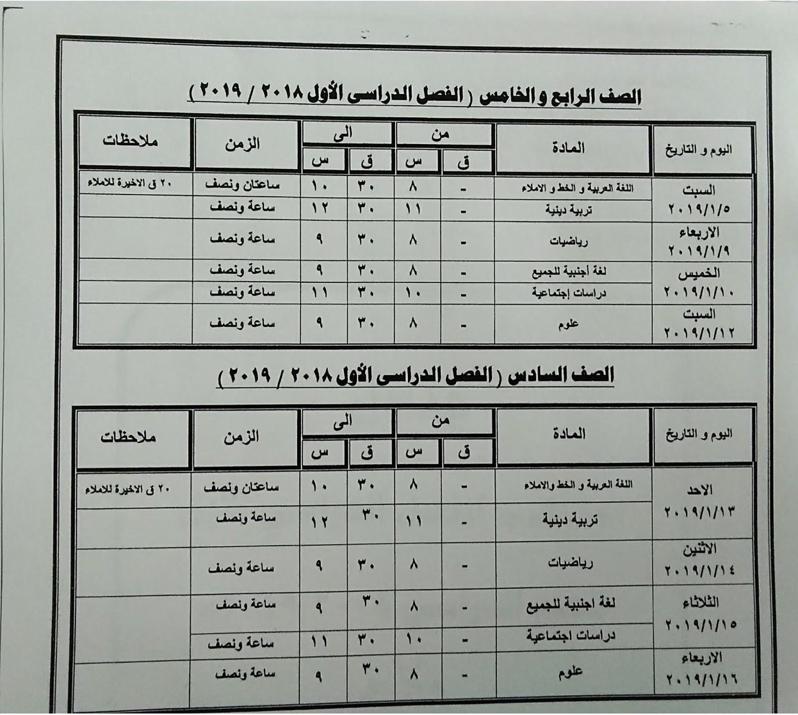 جدول امتحانات نصف العام ترم أول محافظة كفر الشيخ
