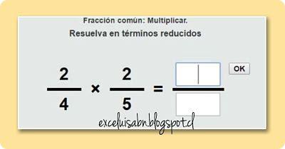 Multiplicación de fracciones comunes.