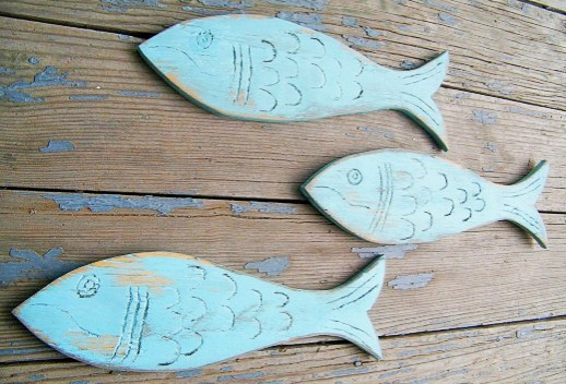 Painted Wooden Fish Wall Art Decor