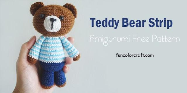 Teddy Bear Strip Amigurumi Free Pattern
