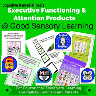 collage of products that strengthen executive functioning skills
