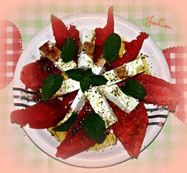 Wassermelone mit Feta und Minze