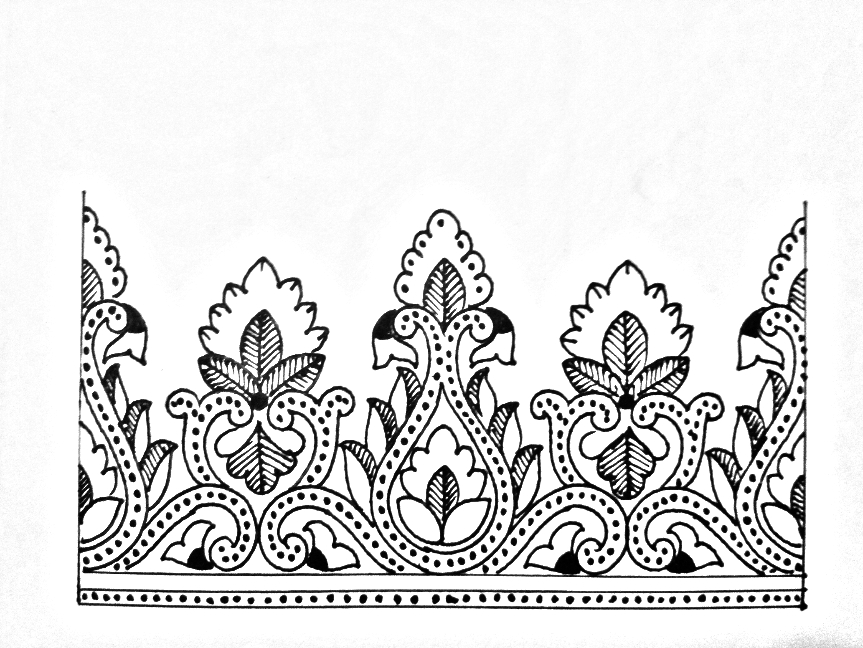 Saree Border Drawing Saree Border Designs On Paper Border