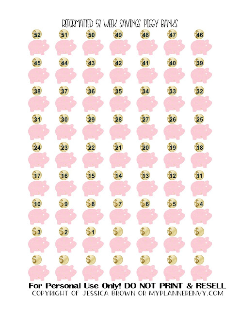 Free Printable Reformatted 52 Week Savings Piggy Banks from myplannerenvy.com