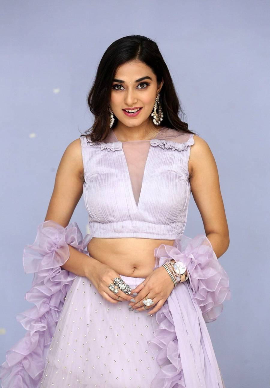 Beautiful Indian Girl Stefy Patel Hip Navel Show Violet Top