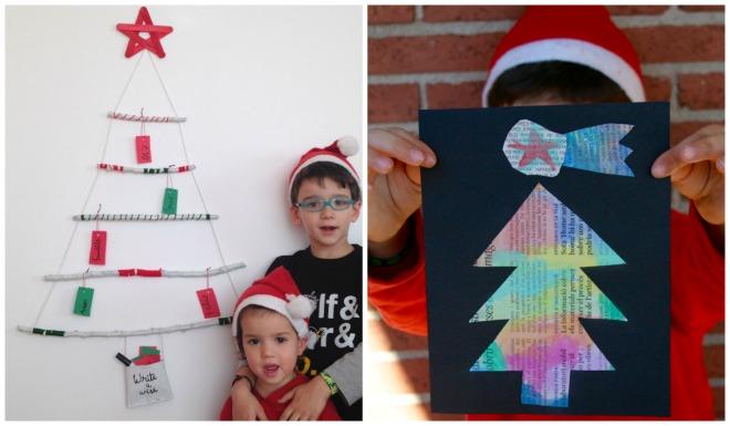 practicar lectoescritura en navidad: diy arbol de navidad con palos y postales