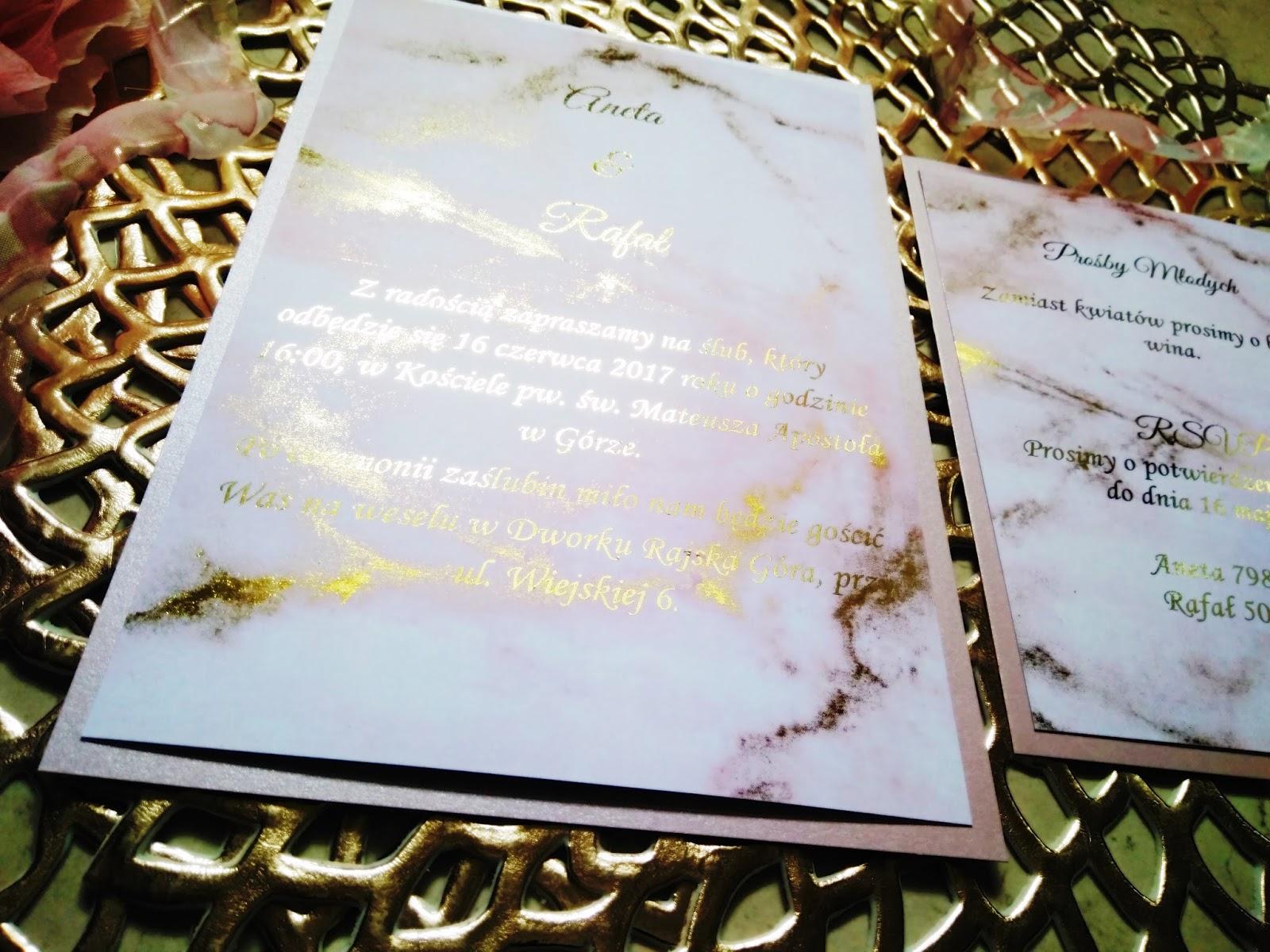 Handmade Owo Zaproszenia Złocone Z Różowym Marmurem Marble Wedding