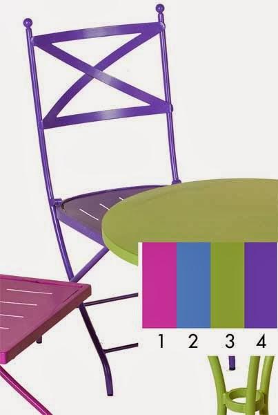 silla forja 4 colores, silla terraza