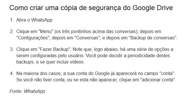 Procedimentos para backup do WhatsApp