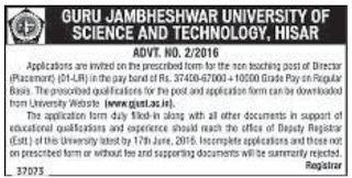 Applications are invited for Director for Placement Department in GJUST Hisar