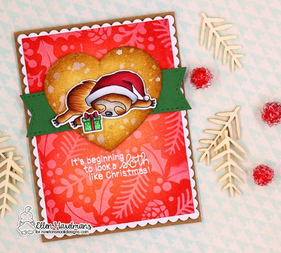 Sloth Christmas Card by Ellen Haxelmans | Slothy Christmas Stamp set and Holiday Foilage Stencil by Newton's Nook Designs #newtonsnook #handmade