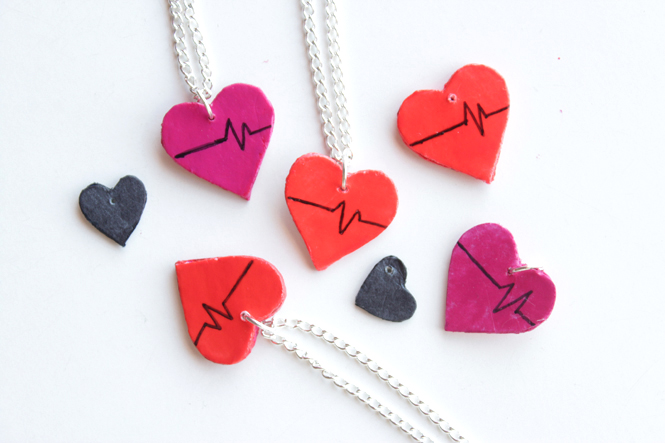 Curly Made | DIY Upcycled Heart Charms - Make your own charms with cardboard from a cereal box #crafts #recycle #heartbeat #howto #necklace