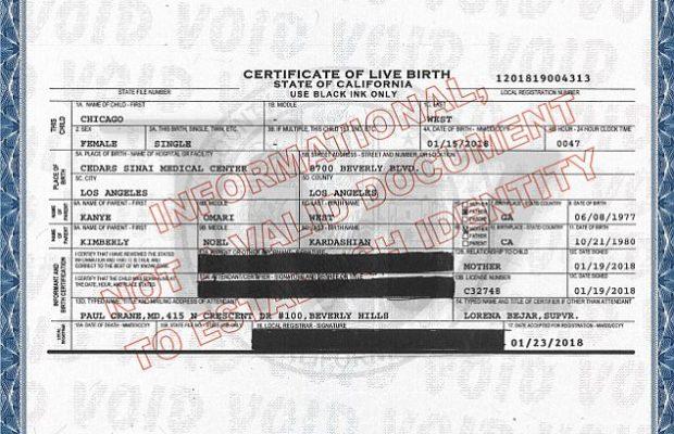 Chicago West's Birth Certificate