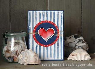 Grusskarte mit Herz in rot, blau und weiß von Stampin' Up!