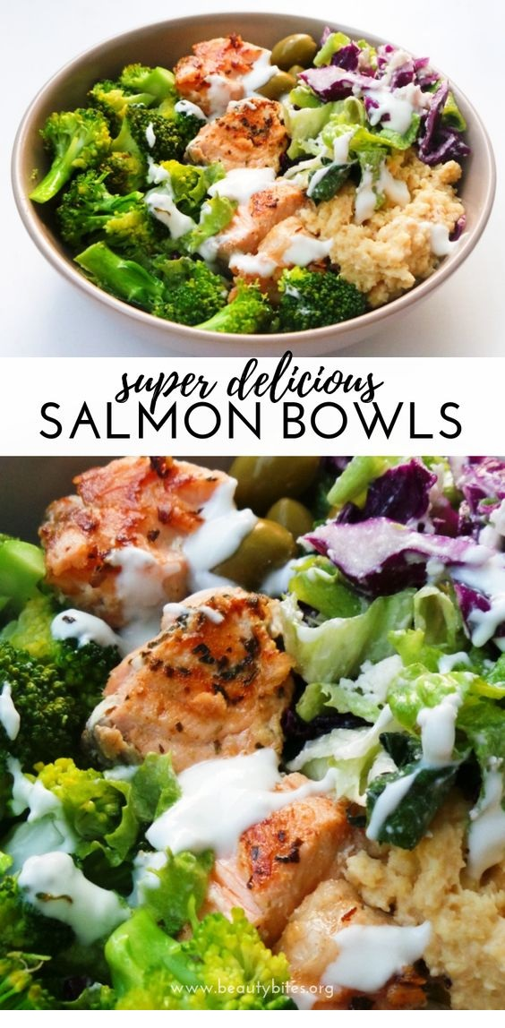 Mediterranean Salmon Bowl | Low-Carb / Keto Option