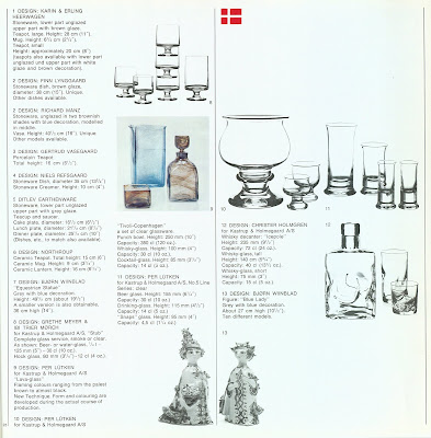 Den Permanente catalog 1972, Holmegaard glassware and other accessories