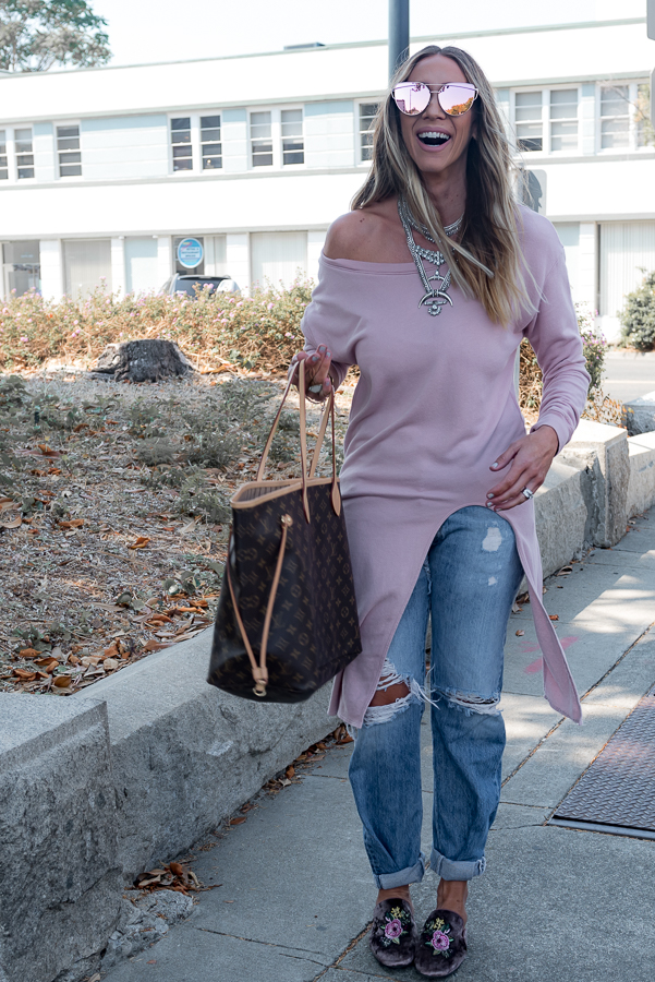 pink tunic ripped jeans louis vuitton parlor girl