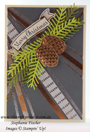 #thecraftythinker, #stampinup, #christmascard, #washitape, #cardmaking, Christmas Card, Pretty Pines, Washi Tape, Stampin' Up Australia Demonstrator, Stephanie Fischer, Sydney NSW
