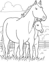 Baby Horse With Mom Coloring Pages Animals Ideas