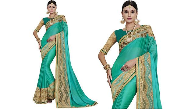 Saara Solid, Embroidered, Embellished Fashion Georgette, Net Saree  (Green, Beige)