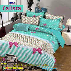 Sprei Custom Katun Lokal Dewasa Calista Pattern Tosca Hijau