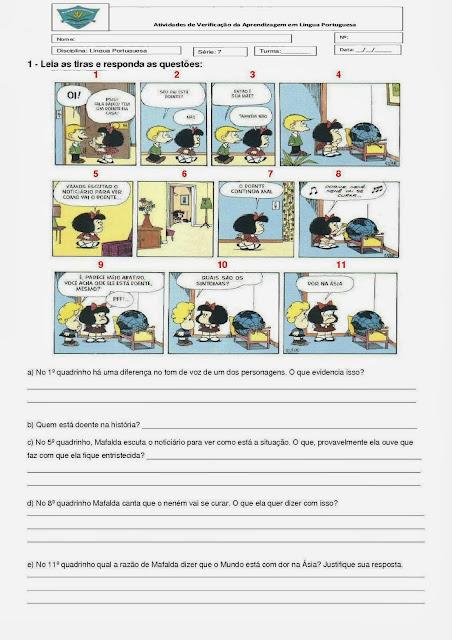 Prova de português 6° ano (5° série) com gabarito
