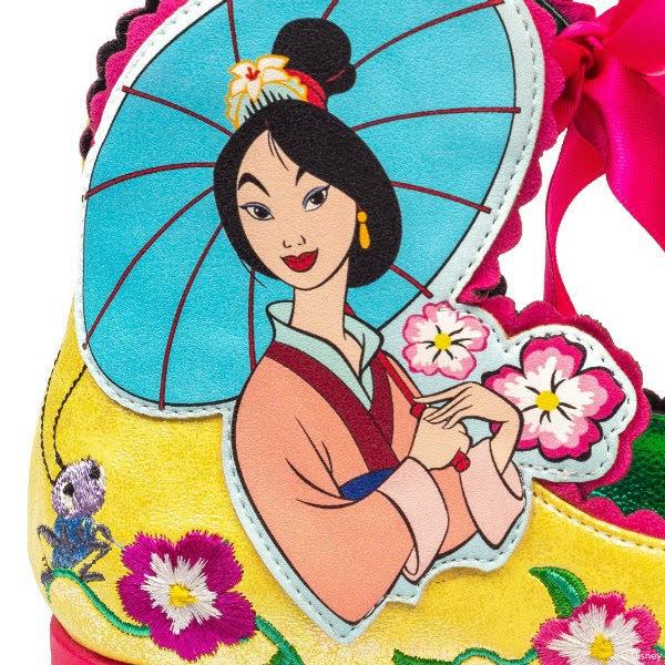close up of Mulan applique on side of kids shoe