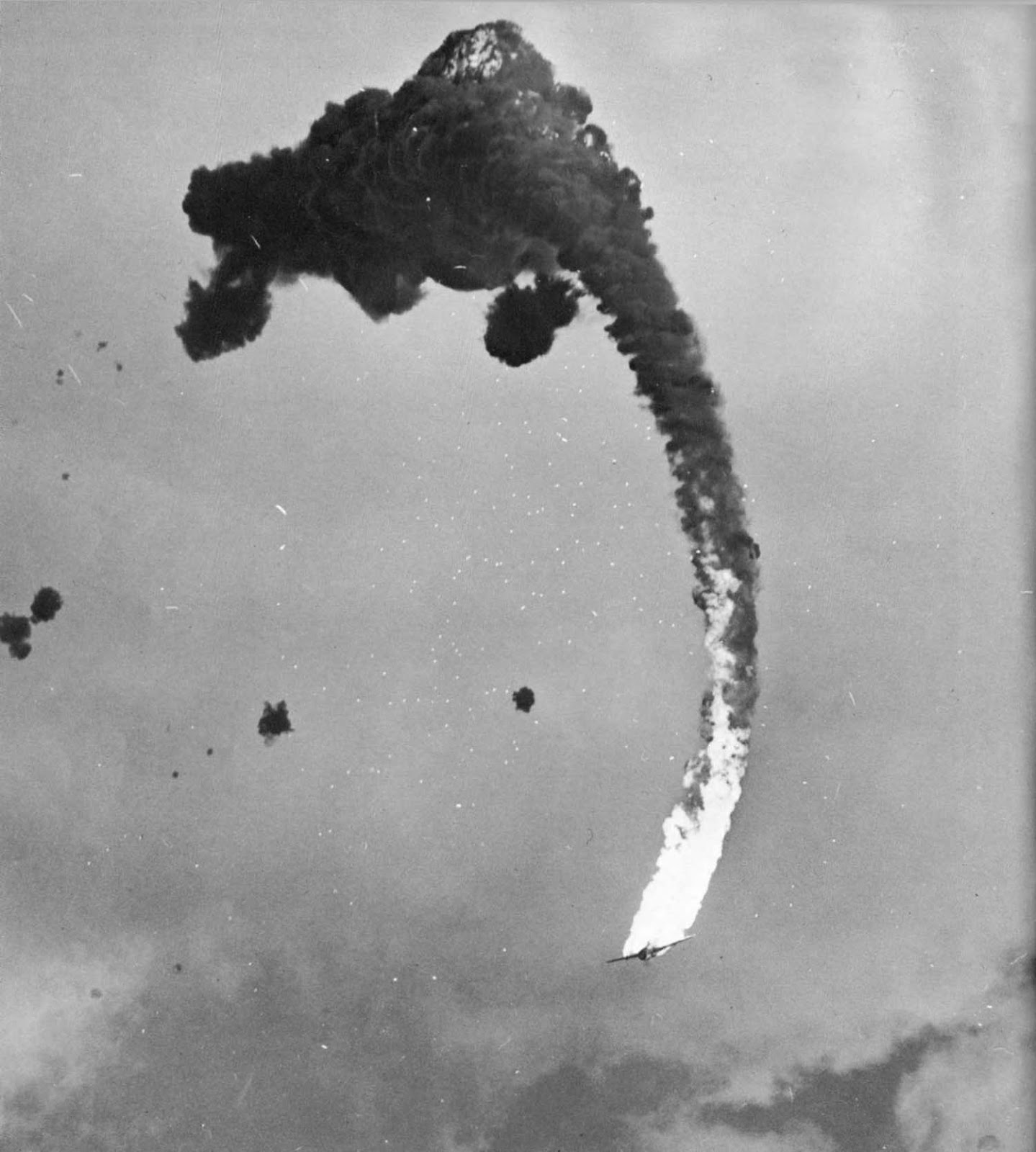 Gunners of the USS Hornet score a direct hit on Japanese bomber, March 18, 1945. The aircraft it a Yokosuka D4Y Suisei.