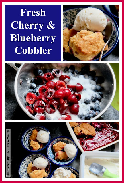 A colorful and comforting dessert combining fresh cherries and blueberries under a sweet dough crust. Serve this with vanilla ice cream for a naturally red, white, and blue treat!